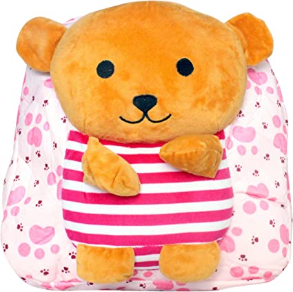 Tickles Pink Teddy Soft Toy Shoulder Bag School for Kids Christmas Childrens Day Gift 3 litres