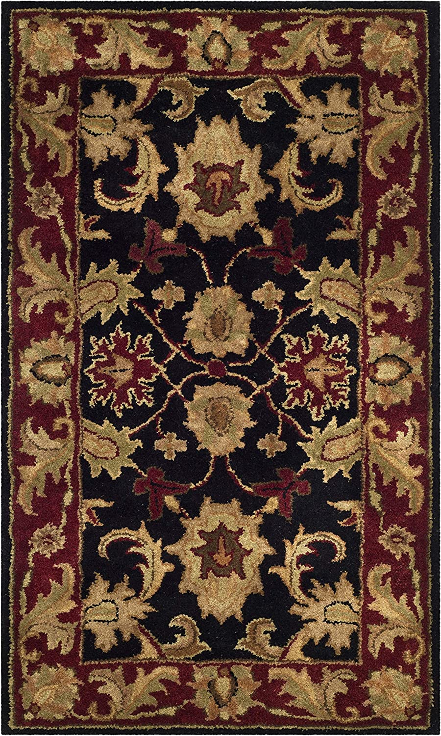 Safavieh Classic Collection CL244C Handmade Traditional Oriental Black and Burgundy Wool Area Rug (2' x 3')