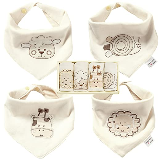 Super Cute Baby Bandana Drool Bibs, Best for Drooling and Teething, 100% Organic Cotton Boys and Girls Bib 4 Pack Ideal for Baby Shower Gift
