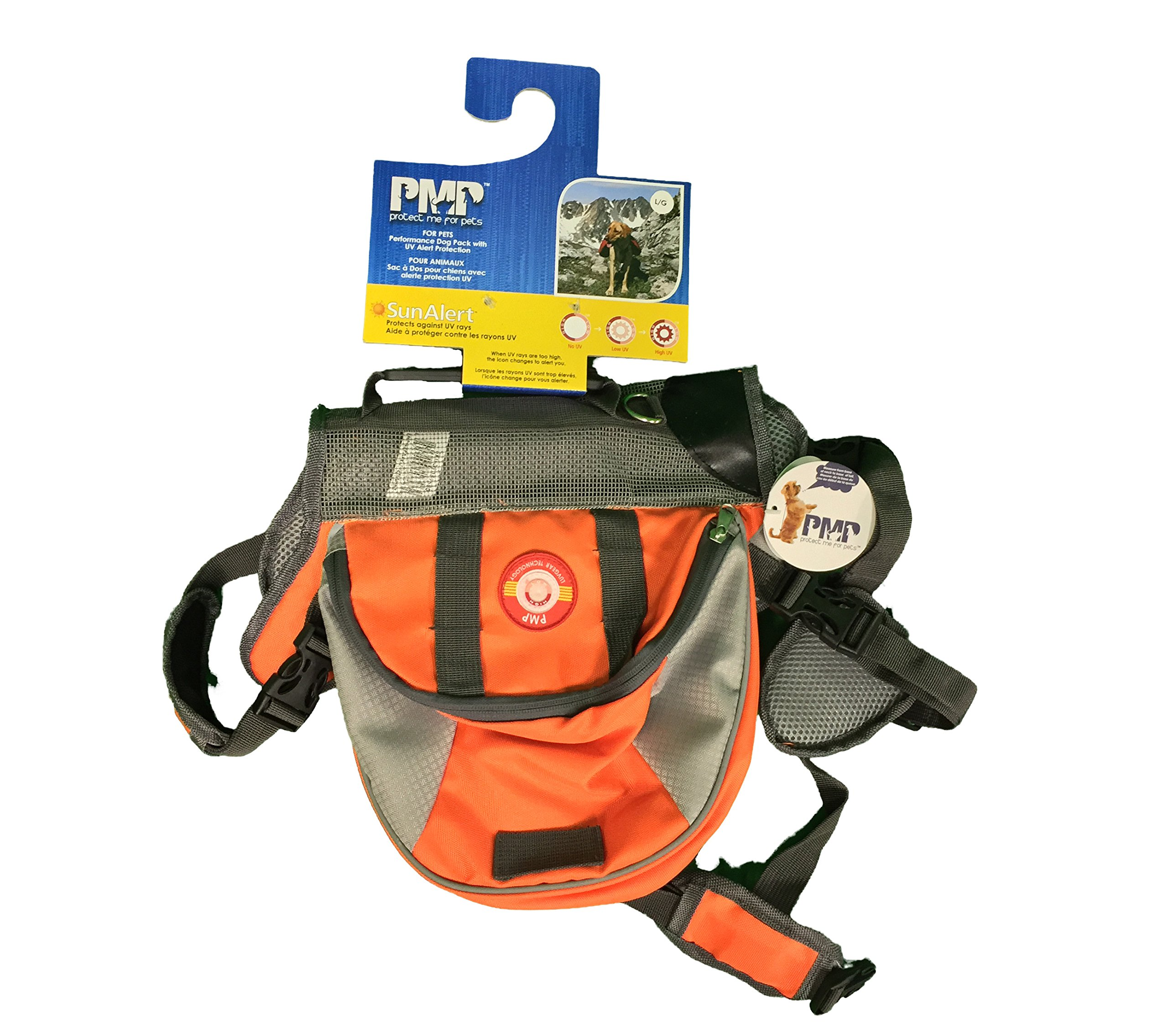 Protect Me Alert Series New Durable Poppy Pavot Dog Back Pack, Medium, Orange