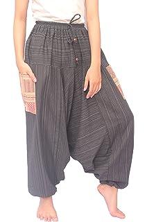 Amazon.com: Siamrose Pantalones Harem para hombre y mujer ...