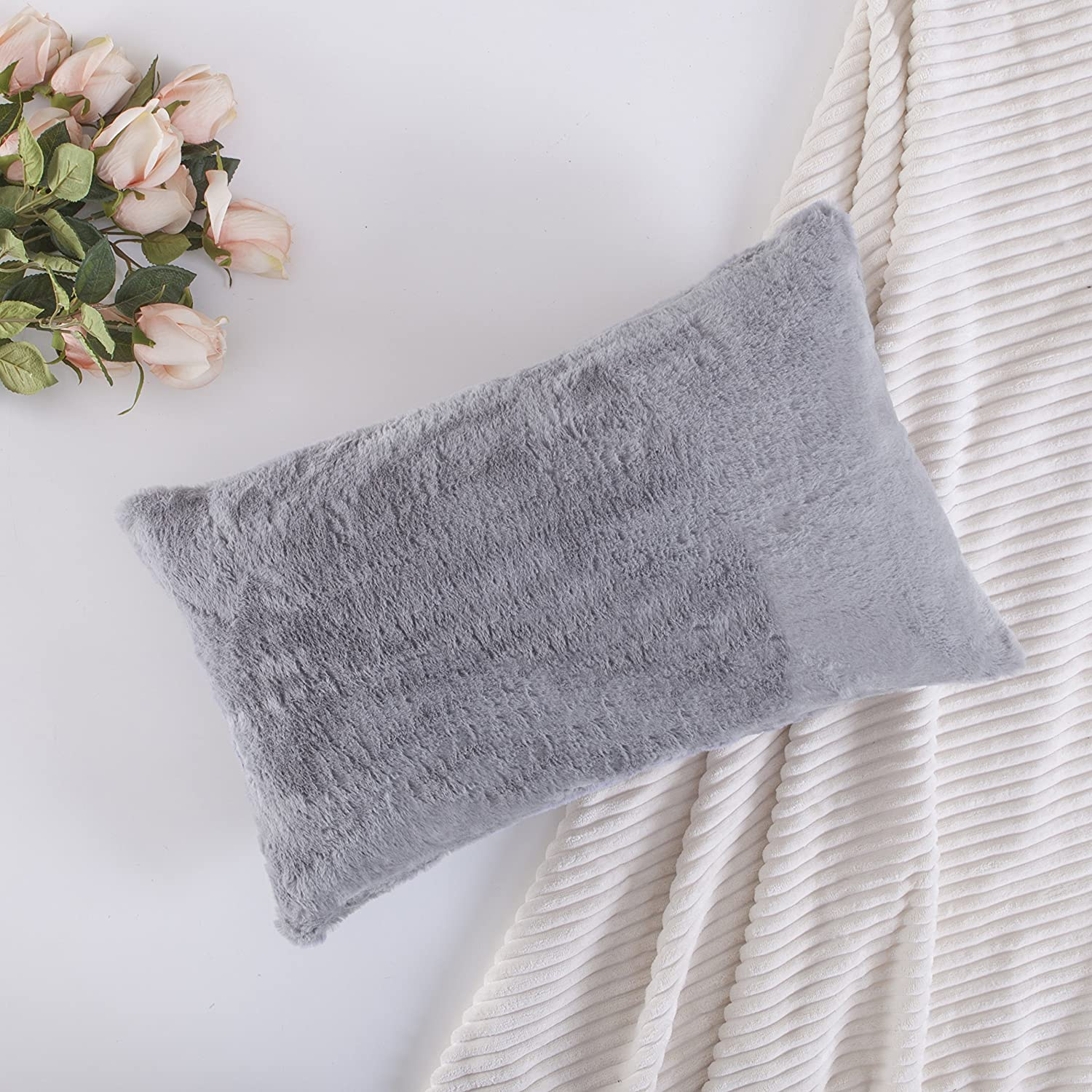 HOME BRILLIANT Plush Mongolian Faux Fur Deluxe Suede Fluffy Sheepskin Oblong Rectangular Accent Throw Pillow Case Cushion Cover for Bed, 1 Pc, 12x20 Inches, Grey