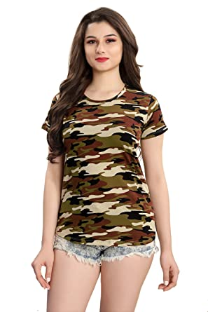 9e80b4e3729be7 AV2 Women s Cotton Camouflage Military Printed Top  Amazon.in  Clothing    Accessories