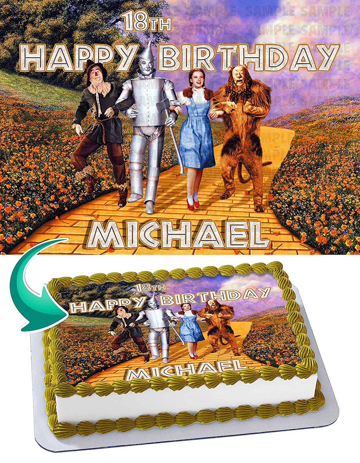 Awe Inspiring The Wizard Of Oz Edible Cake Topper 11 7 X 17 5 Inches 1 2 Birthday Cards Printable Riciscafe Filternl