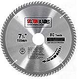 Saxton, lama per sega circolare TCT, per legno, 185 mm x 30 mm (foro) x 80 denti, compatibile con Bosch Dewalt Makita 190 mm, TCT18580T