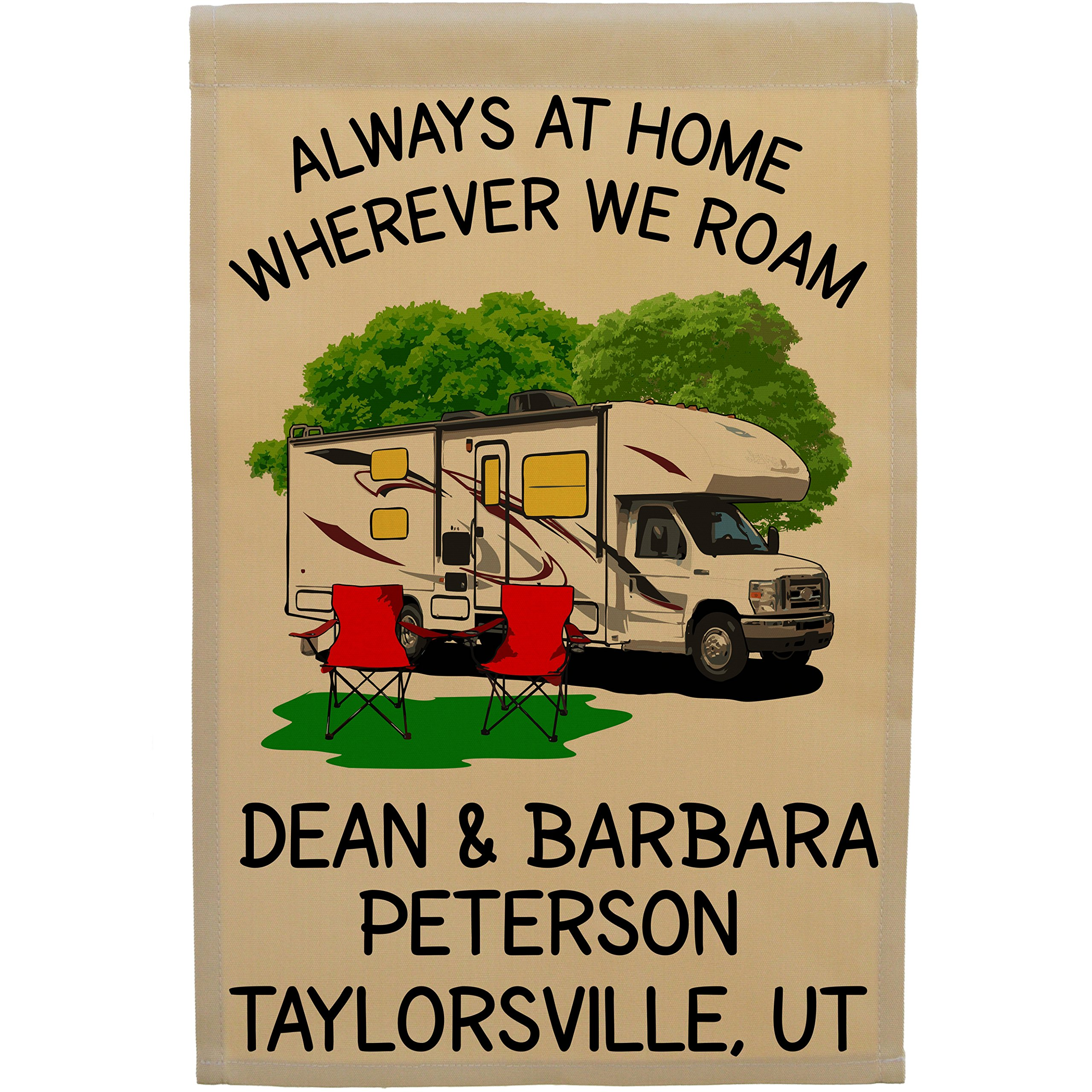 Always at Home Wherever We Roam Personalized Class C Motorhome Camp Flag, Customize Your Way, Flag Only