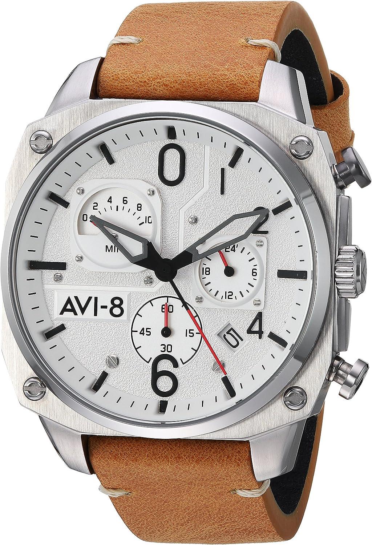 AVI-8 Men's Hawker Hunter Stainless Steel Japanese-Quartz Aviator Watch with Leather Strap, Brown, 22 (Model: AV-4052-01)