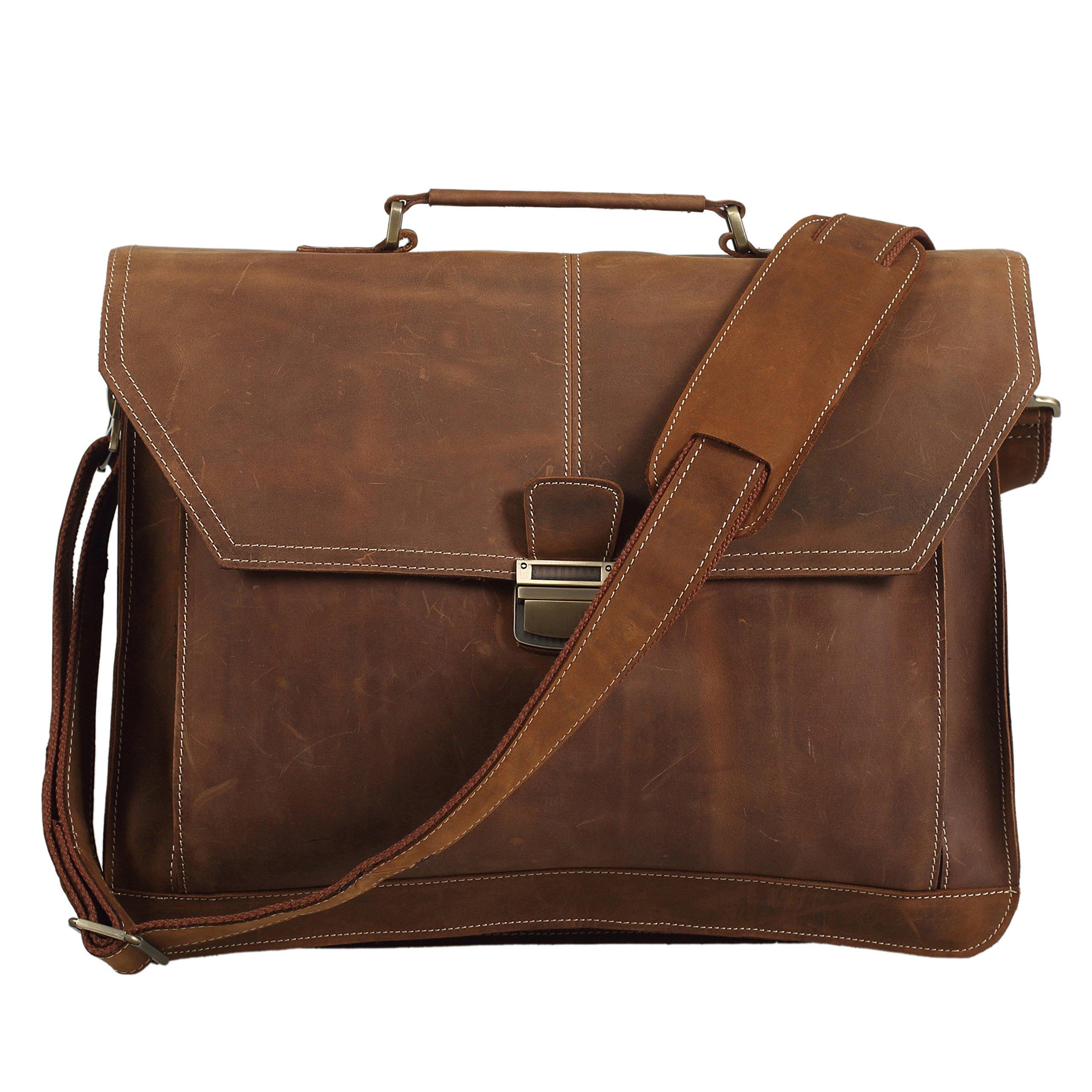Polare Leather Men's Briefcase/laptop/messenger Bag/satchel Fit 16.5 Inch Laptop Tote