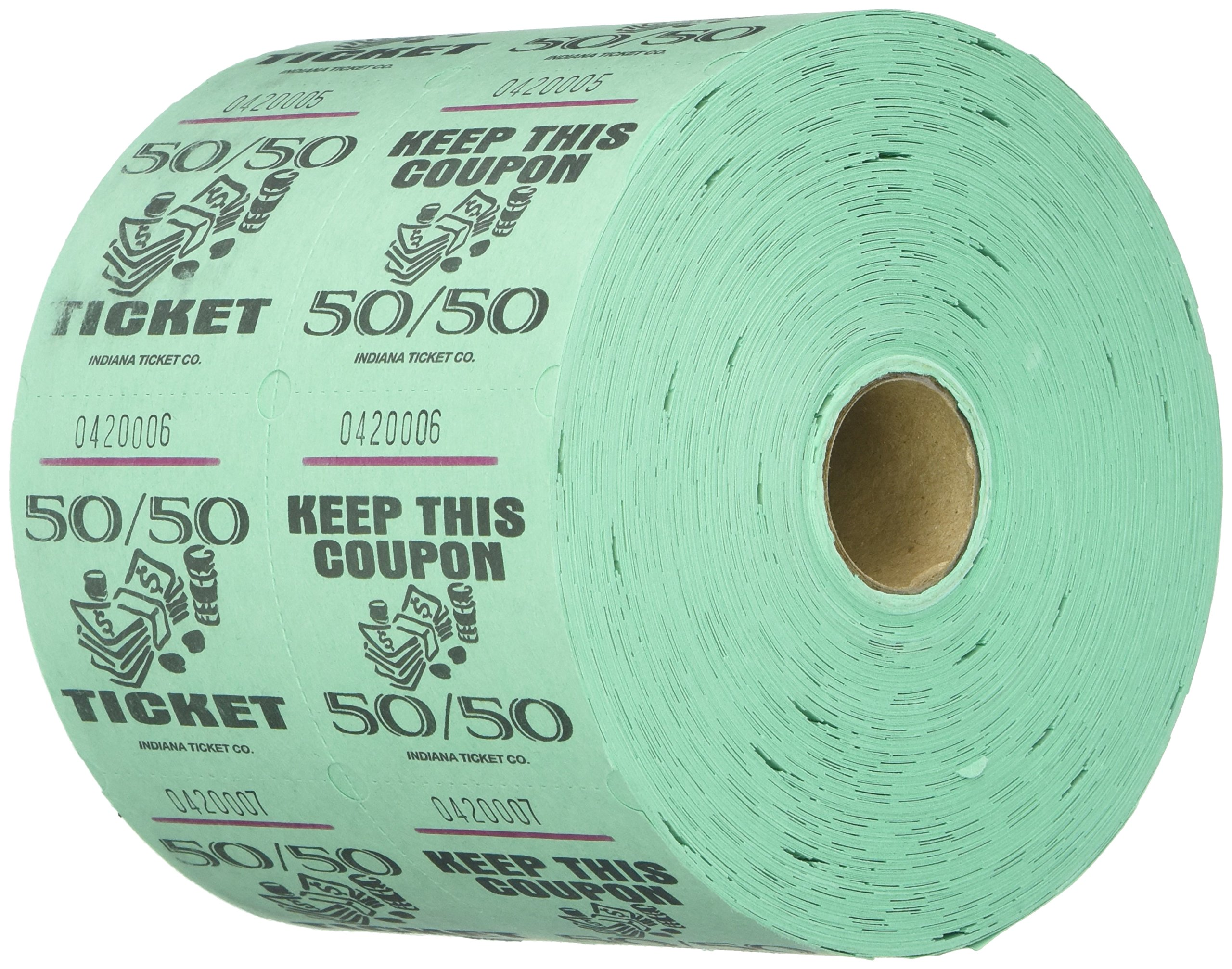 Green 50/50 Raffle Tickets : roll of 1000 by MUNCIE NOVELTY COMPANY