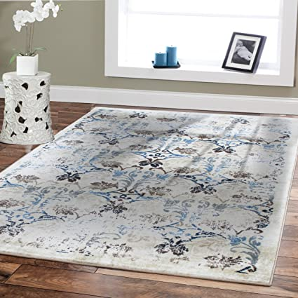 Premium Soft 8x11 Luxury Modern Rugs For Dining Rooms Cream Blue Beige Brown Ivory Floral
