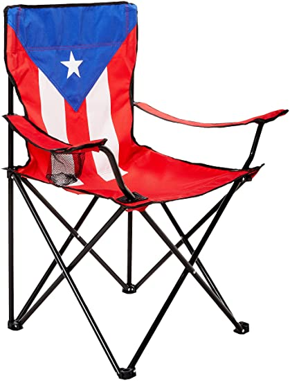 Uniware Puerto Rico Flag Pattern Fold Able Beach Chair With Extra Carrying Bag