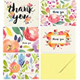 40 Floral Thank You Cards - Blank Inside - Yellow Envelopes