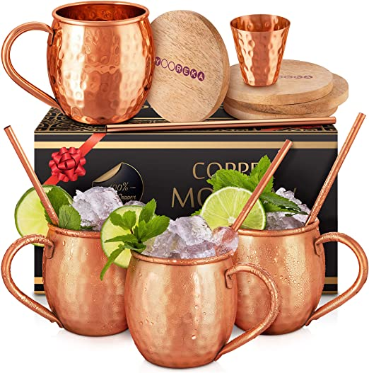 Shot Glass Gift Box Moscow Mule Hammered Copper Mugs 100/% Pure Set Of 2 16 oz