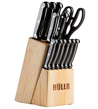 Amazon.com: HULLR 14 Piece Kitchen Knife Set with Wooden Block ...