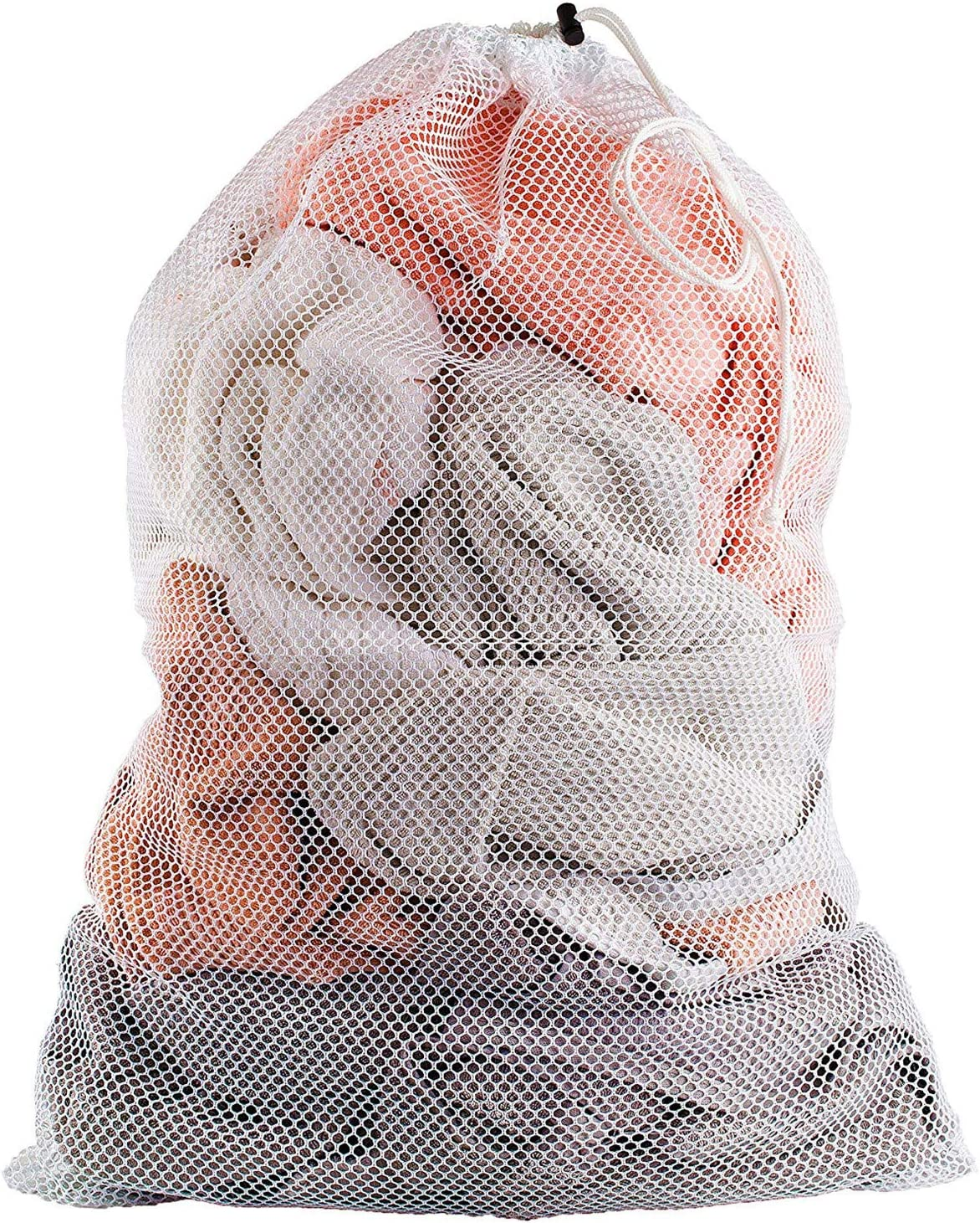 """LERORO 3 Pcs Commercial Mesh Laundry Bag - 20"""" x 28"""" - Sturdy White Mesh Material with Drawstring Closure. Ideal Machine Washable Mesh Laundry Bag for Factories, College, Dorm and Apartment Dwellers"""