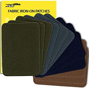 "ZEFFFKA Premium Quality Fabric Iron On Patches Deep Blue Gray Brown Khaki Green 12 Pieces 100% Cotton Repair Kit 3"" by 4-1/4"""