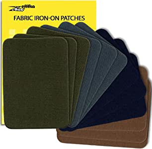 """ZEFFFKA Premium Quality Fabric Iron-on Patches Inside & Outside Strongest Glue 100% Cotton Deep Blue Khaki Gray Brown Repair Decorating Kit 12 Pieces Size 3"""" by 4-1/4"""" (7.5 cm x 10.5 cm)"""