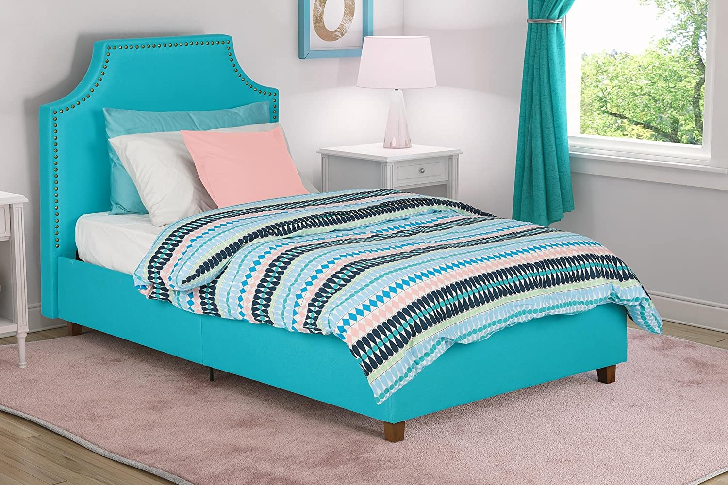Amazon com  DHP Melita Linen Upholstered Bed with Beautiful Headboard  Design  Twin Size   Teal  Kitchen   Dining. Amazon com  DHP Melita Linen Upholstered Bed with Beautiful