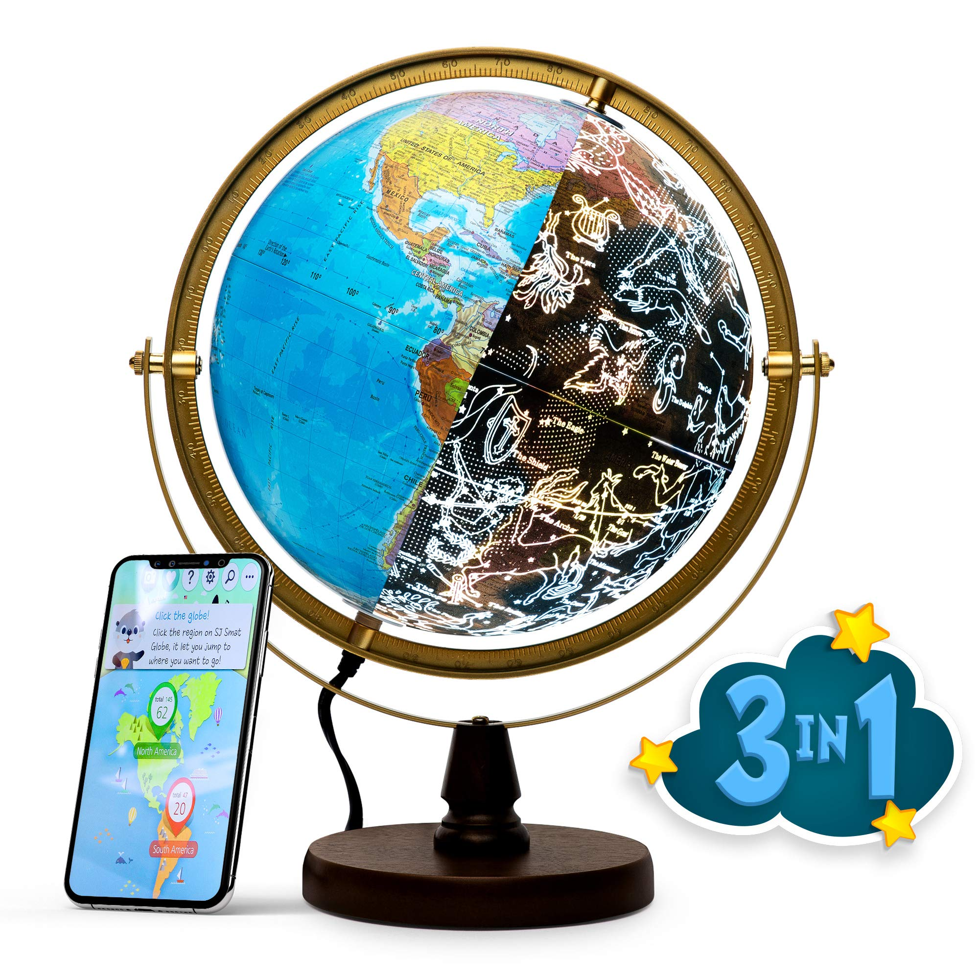 SJSMARTGLOBE with Interactive APP & LED Illuminated Constellations at Night, Educational Content for Kids, US-Certified LED & US-Patented STEM Toy, 10'' World Globe with Detailed map by SJSMARTGLOBE