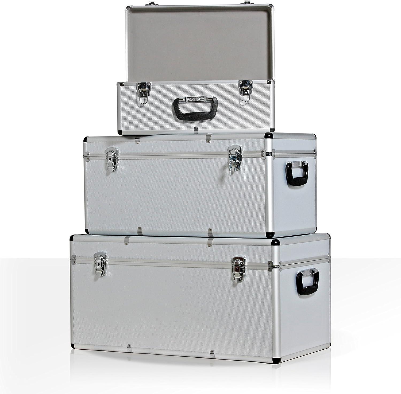 73cm x 38cm x 36 cm abschlie/ßbar  inkl 68cm x31cm x 32 cm 47cm x 26cm x 22cm Arebos 3er Set Transportkoffer Transportboxen Aluminium 200L Gesamtvolumen Tragegriffe