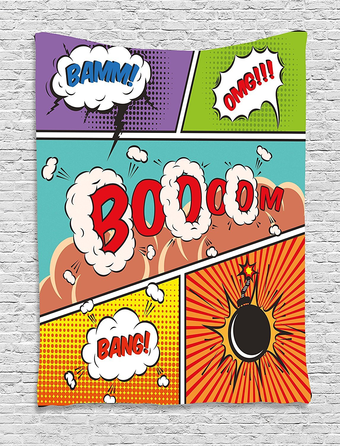 Superhero Tapestry, Retro Comic Strip Speech Bubbles Funny Pop Art Stylized Vintage Hobby Style Image, Wall Hanging for Bedroom Living Room Dorm, 60 W X 80 L Inches, Multicolor