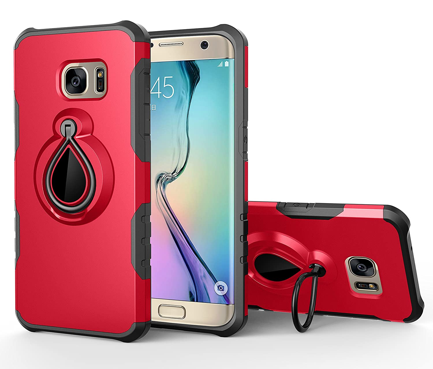 Gostyle Samsung Galaxy S7 Edge Shockproof Case with Ring Holder Kickstand, Ultra Slim Light Hybrid Hard PC + Soft Silicone Bumper with Magnetic Car Mount Function Anti-Scratch Back Cover, Rose Gold