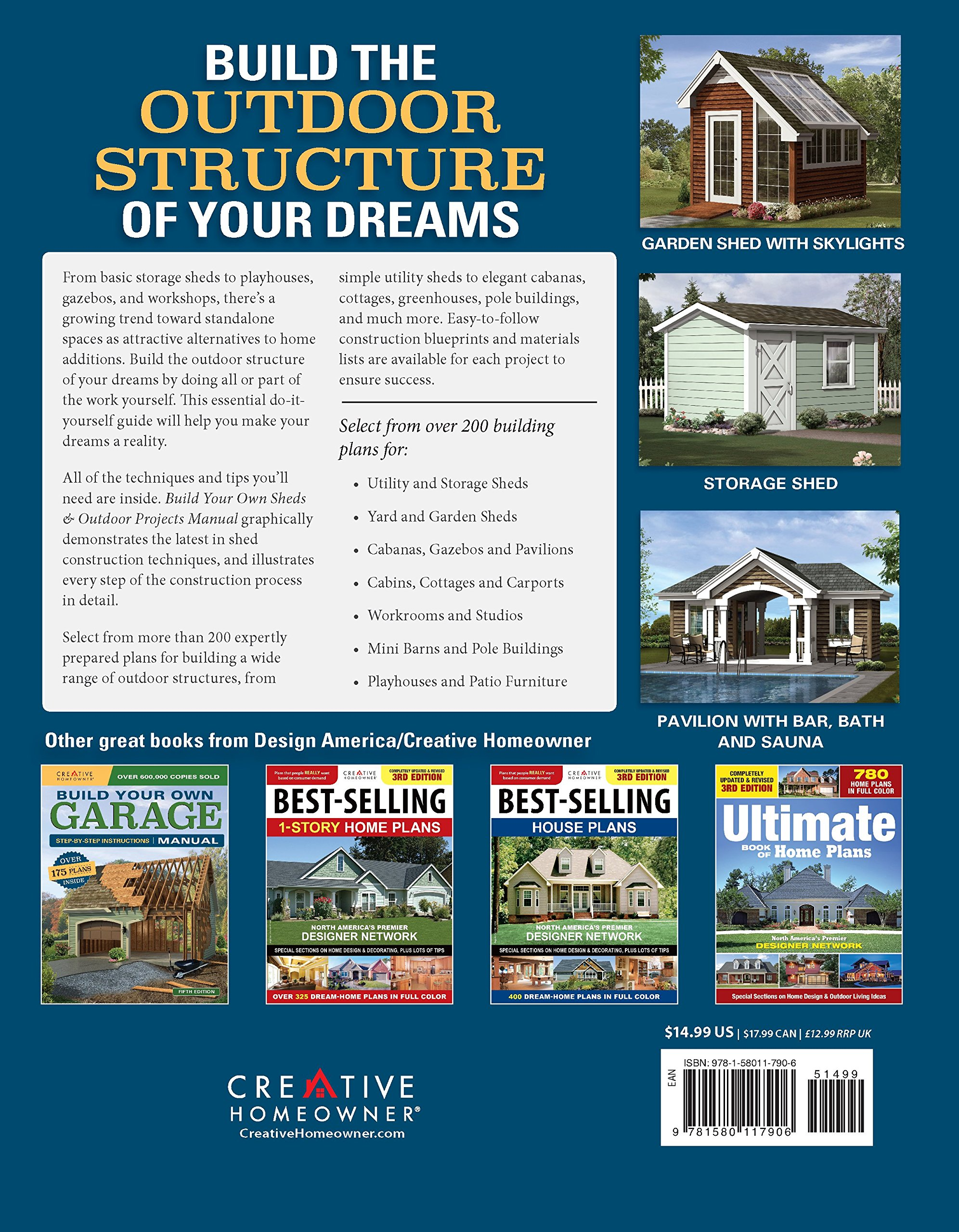 Build Your Own Sheds & Outdoor Projects Manual, Fifth Edition: Step-by-Step  Instructions (Creative Homeowner) Catalog of Over 200 Plans, Ideas, ...