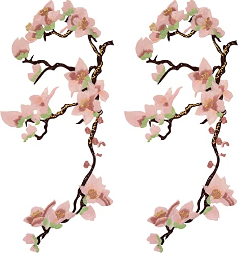 Embroidery Sew Iron On Patch Fabric Applique DIY Plum Blossom Flower Butterfly