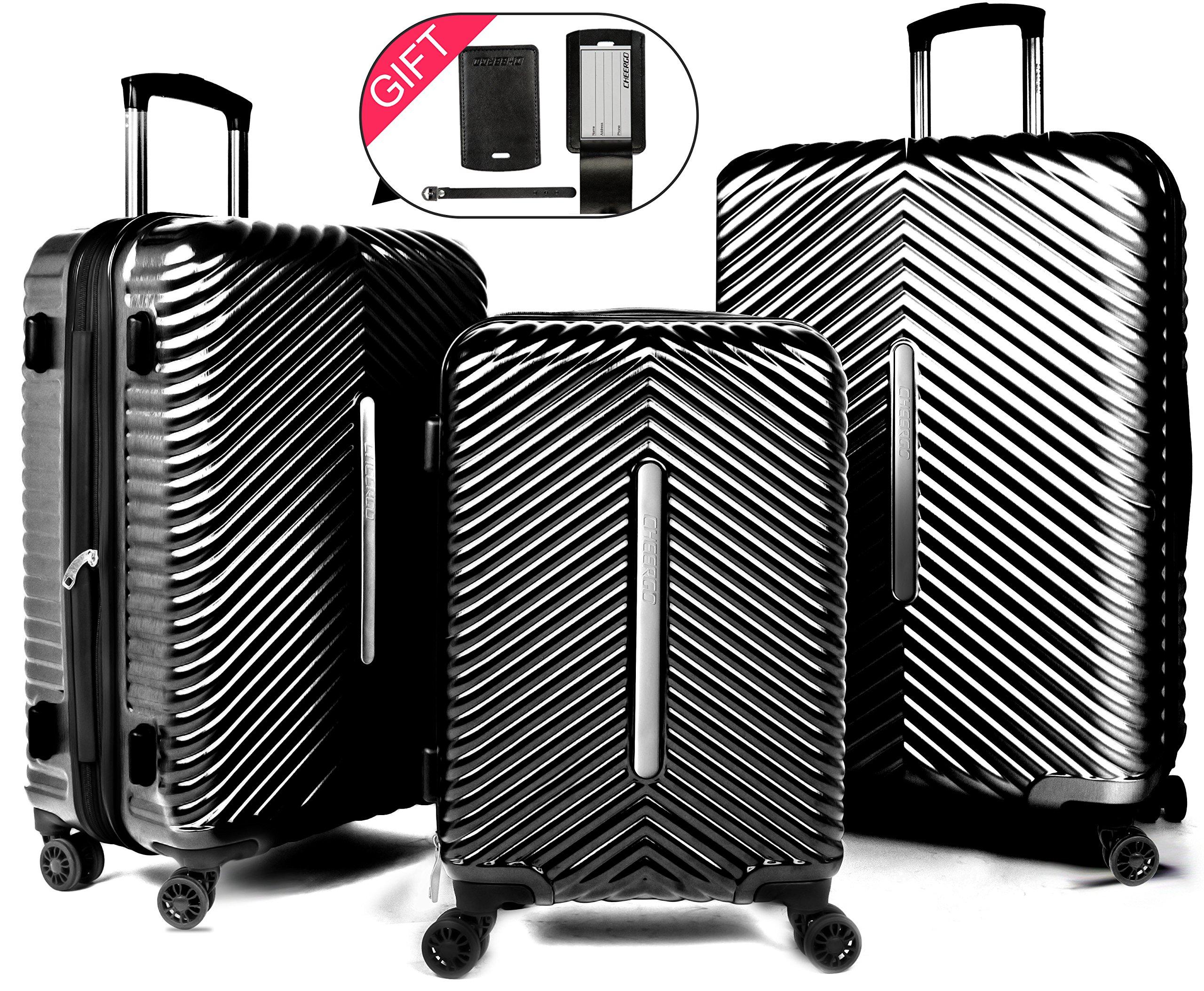 Cheergo PC 3 Piece Hardside Suitcase Luggage Set Expandable Spinner Trolley TSA Lock 20 24 28 inch Black