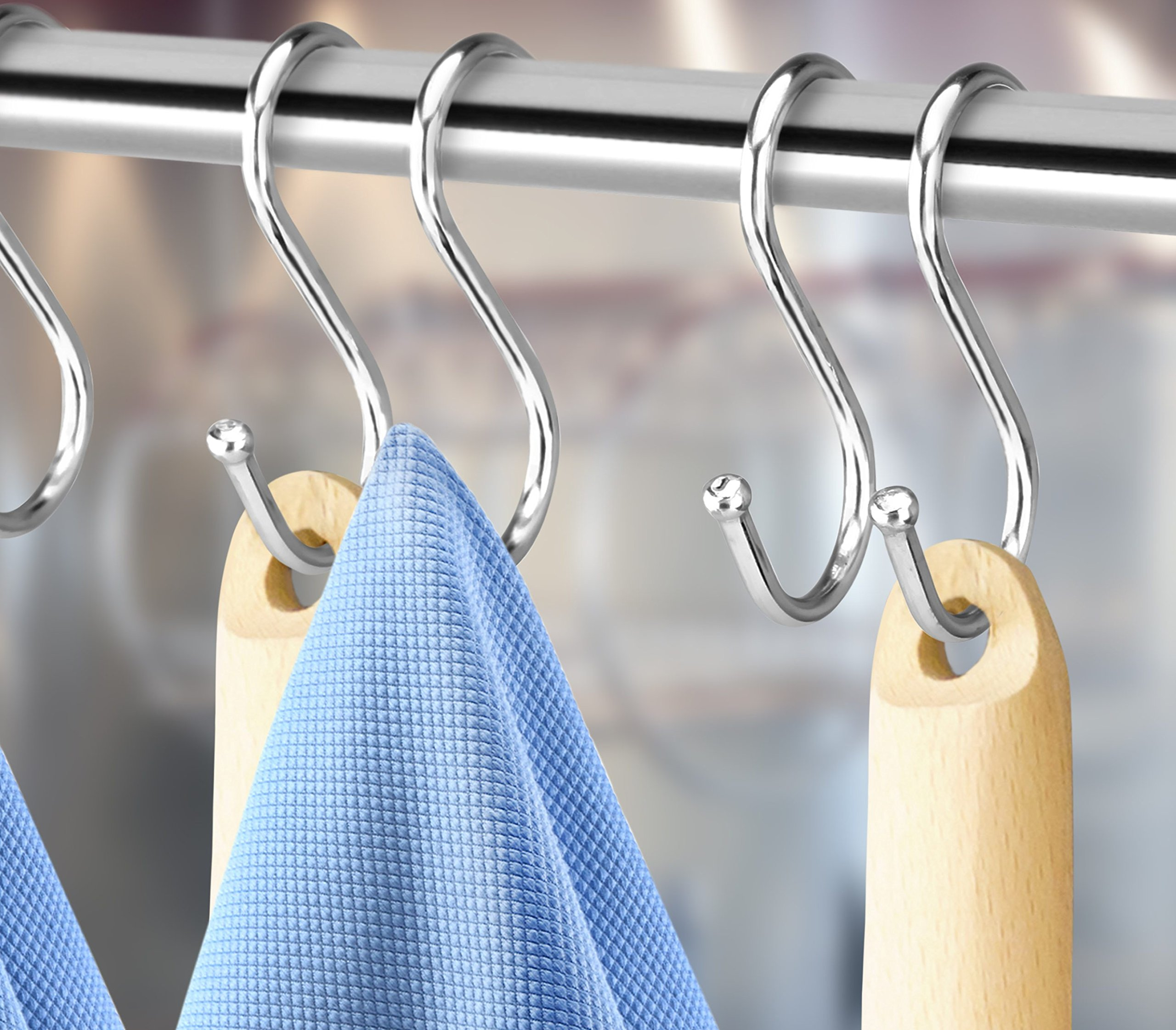 Pro Chef Kitchen Tools Double Utility Hooks - Dual S Hook 10 Pack Set - Hanging S Shaped Heavy Duty Metal Hooks for Outdoor Garage Home Storage Organization - Fits Utensil Rack Rails - Pot Hanger Bar