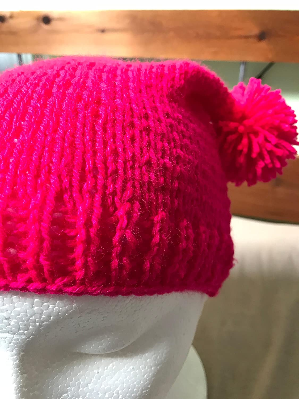73c8bb97b9c64 Amazon.com  Bright Pink Beanie Hat with Double Pom Poms  Handmade