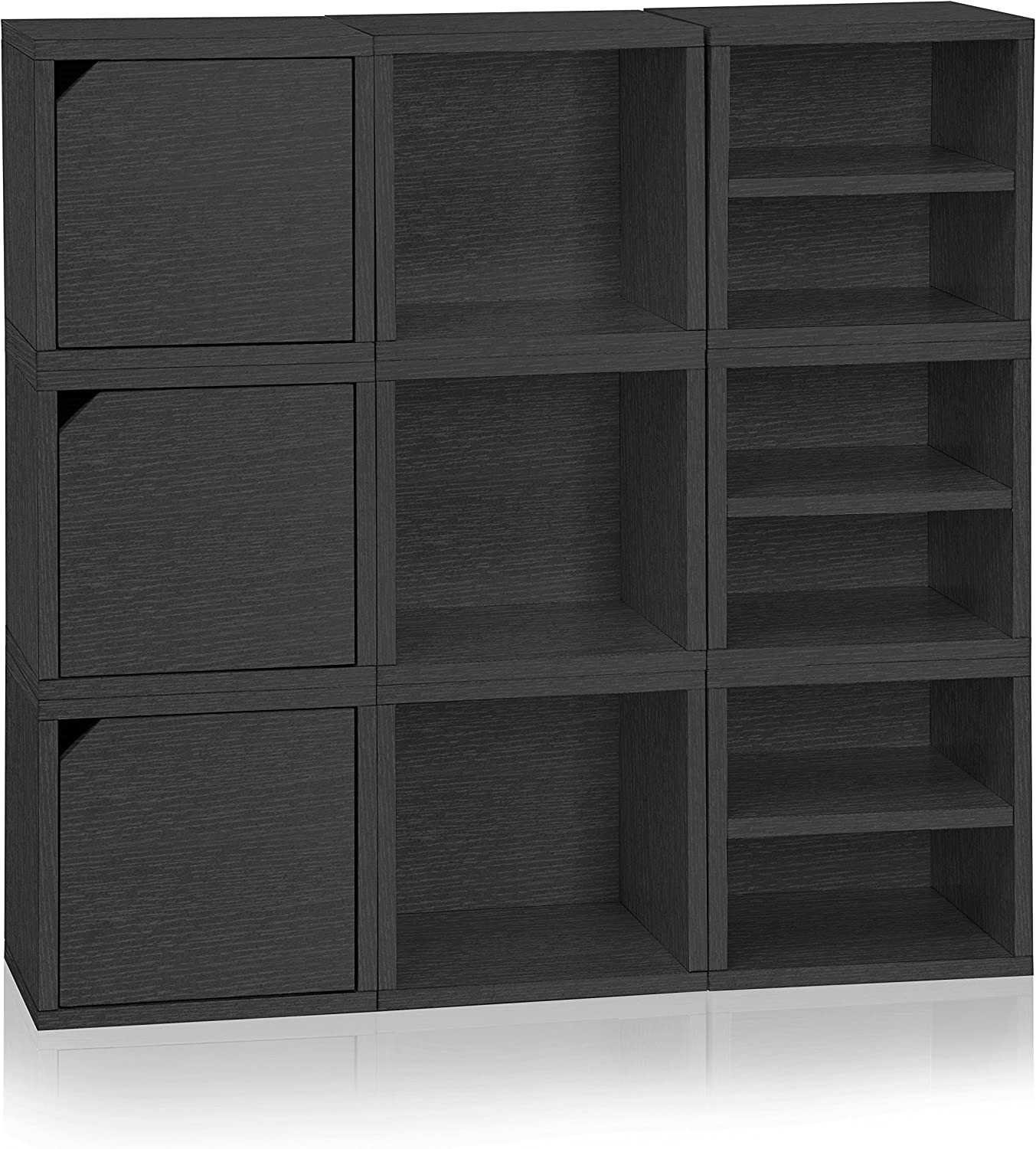 Way Basics 9 Modular 3-in-1 Shelf Connect Cube Storage System, Black Wood Grain (Tool-Free Assembly and Uniquely Crafted from Sustainable Non Toxic zBoard paperboard)