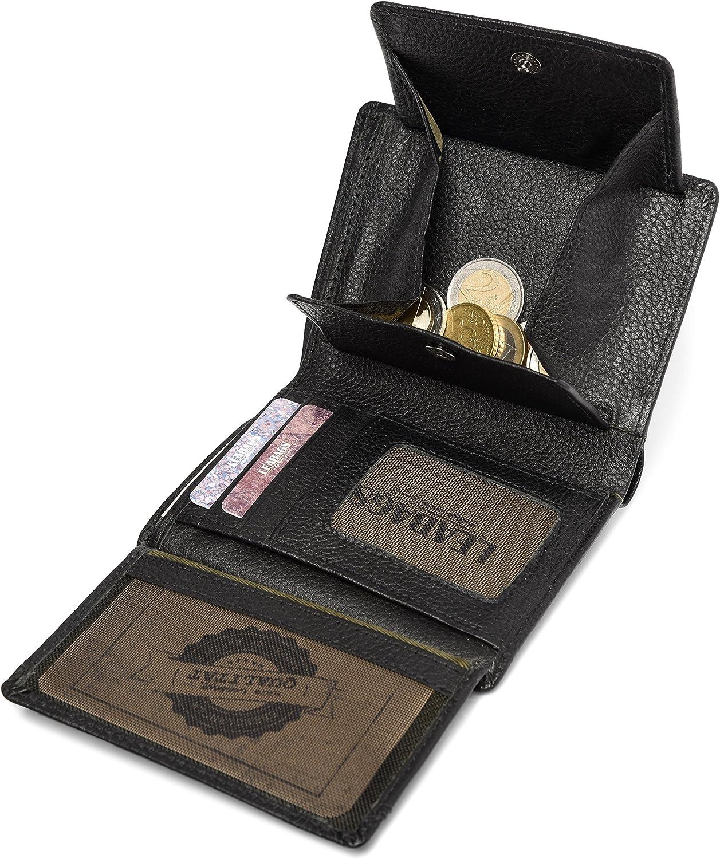 OnyxBlack LEABAGS Indianapolis Geldbeutel aus echtem B/üffel-Leder im Vintage Look