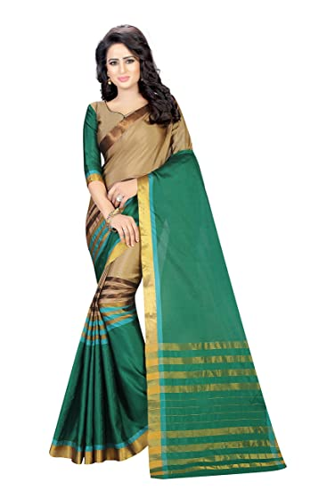 616672af5d Sarees(Saree By Megha Designer Green Colored Cotton Silk Saree with Blouse):  Amazon.in: Clothing & Accessories