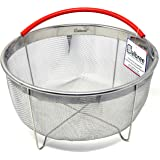 The Original Salbree 8qt Steamer Basket for Instant Pot Accessories, Stainless Steel Strainer and Insert fits IP Insta Pot, Instapot 8qt, Other Pressure Cookers and Pots, Premium Silicone Handle