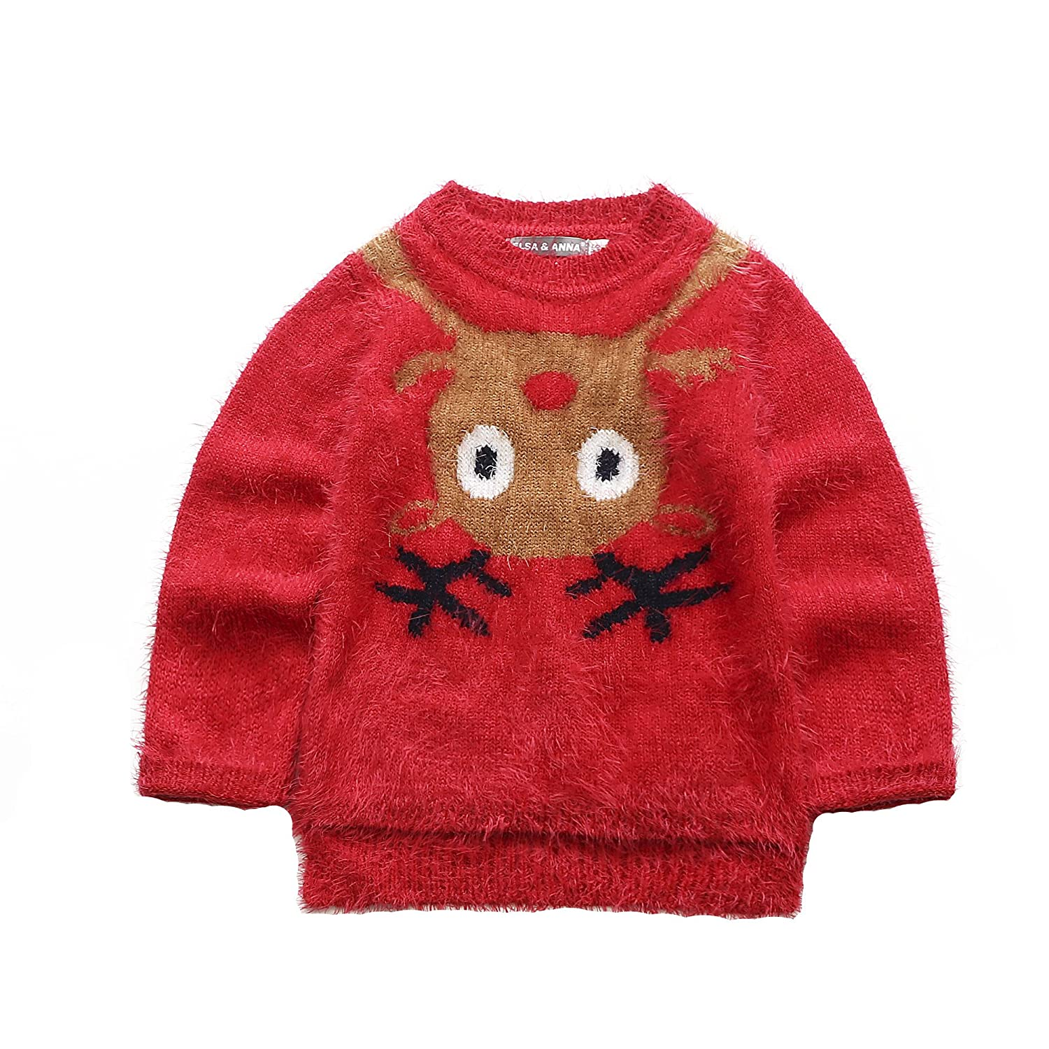 UK ELSA & ANNA® Top Quality Girls Children Kids Christmas Jumper Girls Xmas Jumpers Sweater REDJUM11 (RED, 3-4 years) UK1STCHOICE-ZONE
