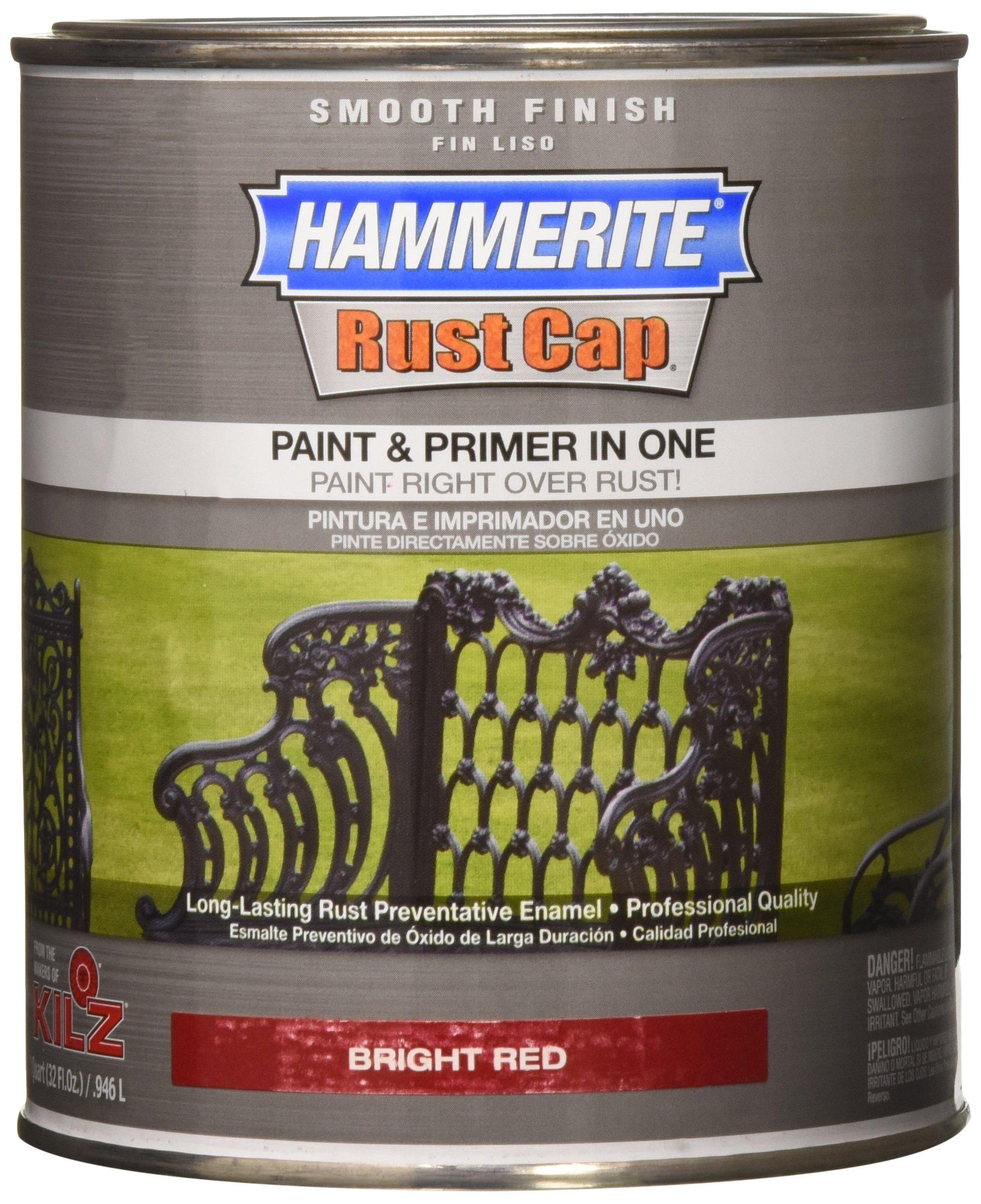 Hammerite 44210 Rust Cap Rust Preventative Paint Smooth Finish Bright Red 1 Qt