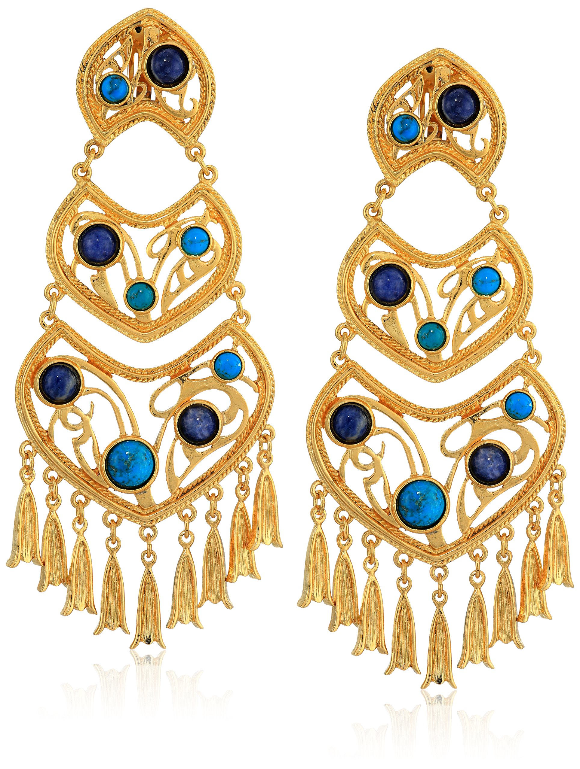 Ben-Amun Jewelry Women's Mediterranea Gold Clip On Earrings with Turquoise Lapis Stones and Tassel Droplets, 4.5 by Ben-Amun Jewelry