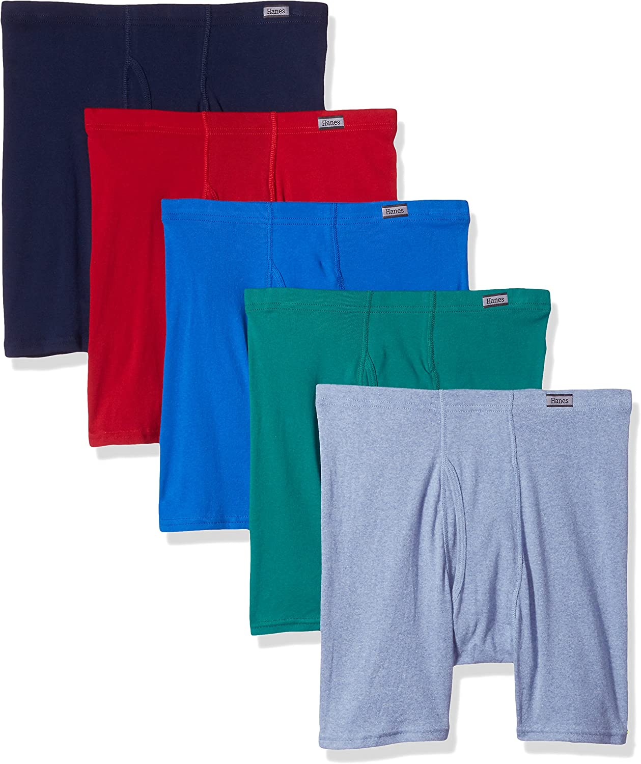 Assorted Colors 5 Pack Large Mens Boxer Briefs With Covered Waistband