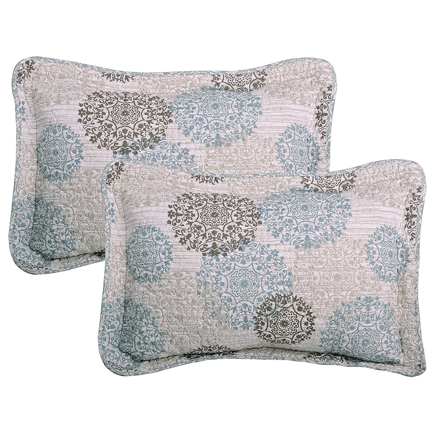 Serenta 6 Piece Marina Medallion Printed Quilted Bed Spread Set Queen 90 x 90 Cameo Blue Queen 90 x 90 BNF Home BNFPMQ6QMMD