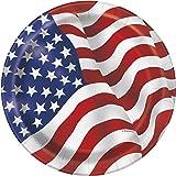 US American Flag Lot de 8assiettes de fête, 23cm de diamètre, Motif de drapeau américain