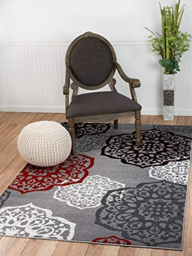 New Summit Elite S 53 Moroccan Madallions Gray White Black Red Modern Abstract Area Rug 8×11 Actual Size is 7 .4 x10.6