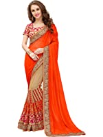 Panchratna Women's Embroidered Orange Georgette Saree With Blouse Material