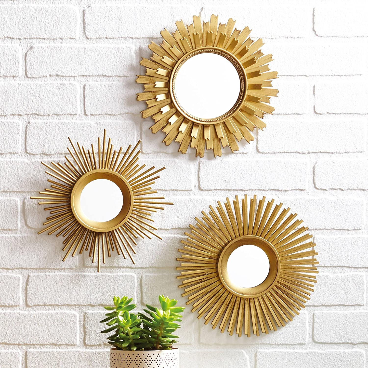 Com 3 Piece Sunburst Wall Mirror Set Multiple Finishes Gold Home Kitchen