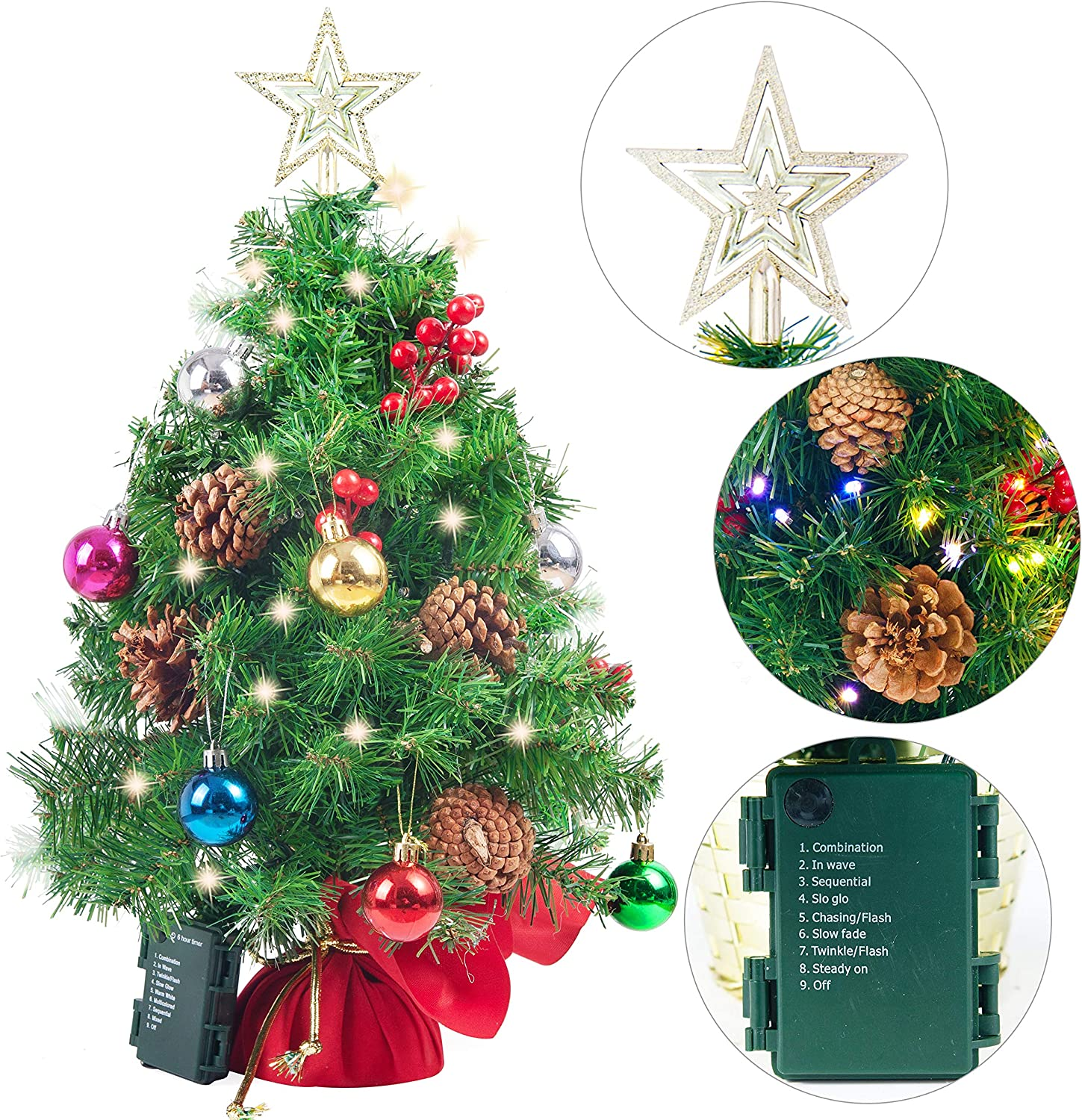 "Joiedomi 23"" Prelit Tabletop Christmas Tree with Multicolored Lights, Holly Berries, Pine Cones, Star Tree Topper & Ornaments for Best Holiday Season Decorations"