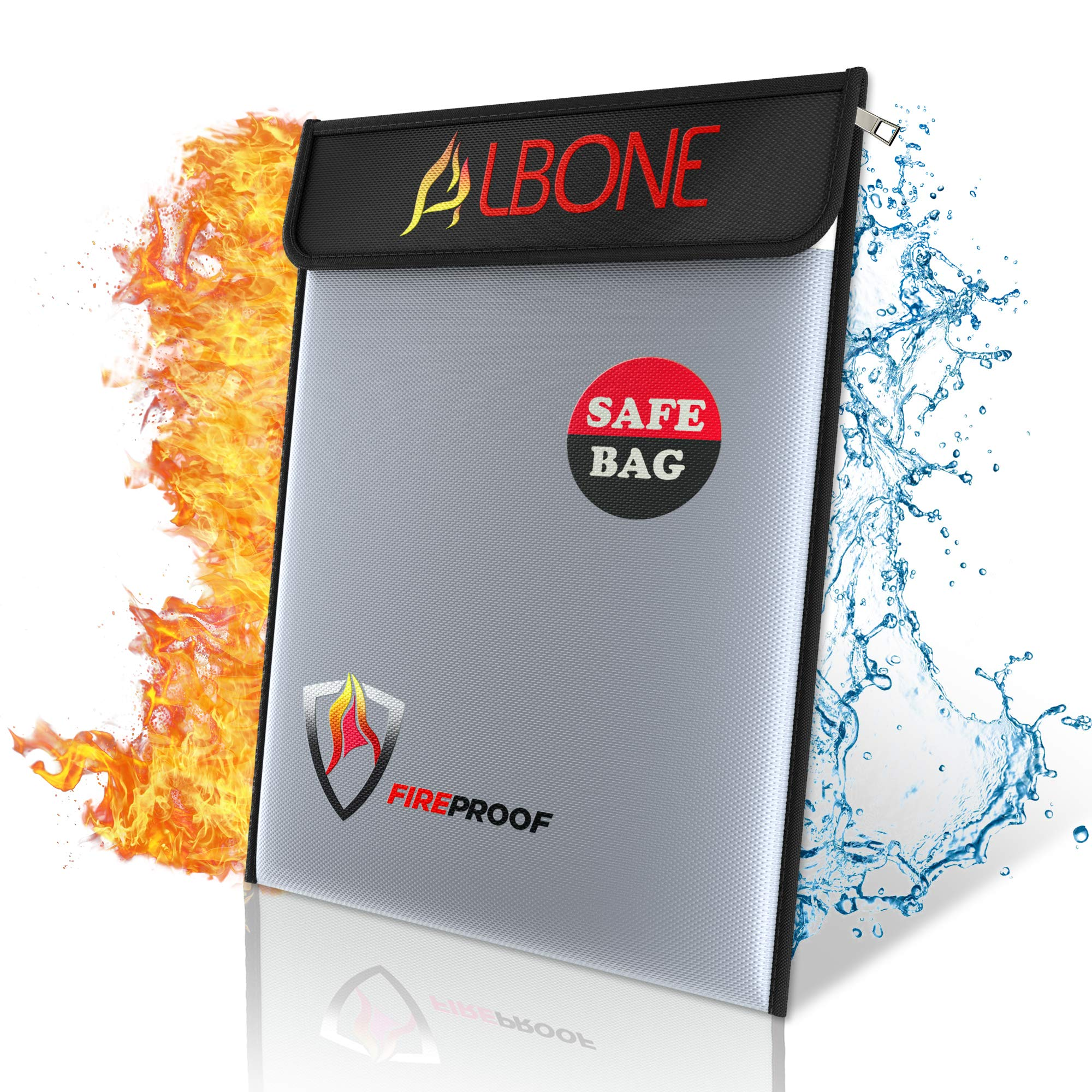 ALBONE Fireproof Money and Document Bag 15'' x 11''|Fire Resistant Safe Zip and Velro for Cash, Jewelry by ALBONE