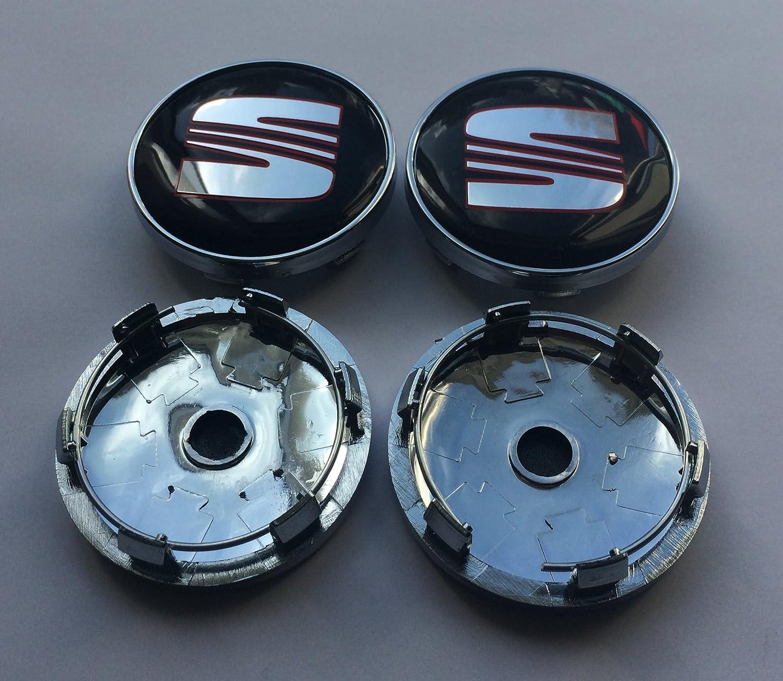 Set di 4 coprimozzo nero//rosso 60 mm in lega