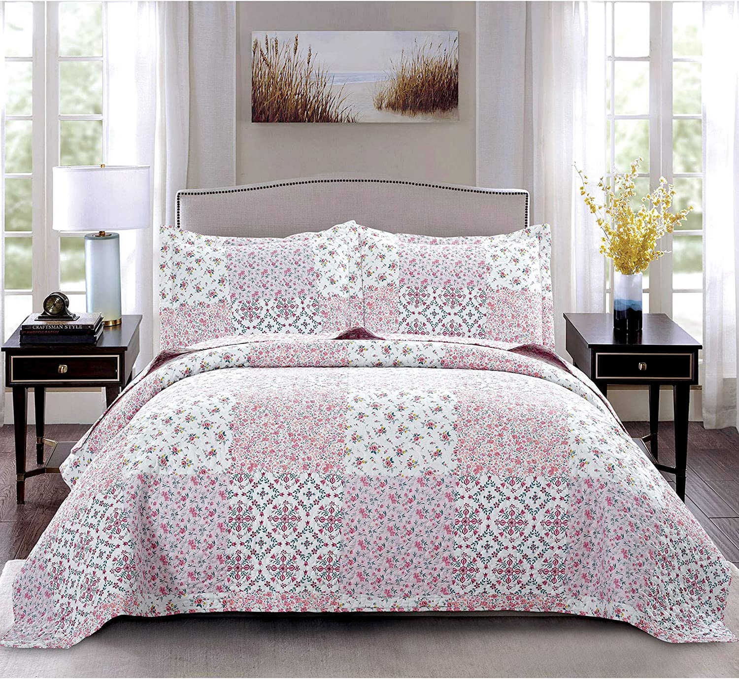 Pink White Plaid Boho Floral Quilts