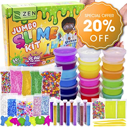 Amazon.com: DIY Slime Kit for Girls Boys - Ultimate Glow in the Dark Glitter Slime Making Kit Arts Crafts - Slime Kits Supplies include Big Foam Beads Balls, 18 Mystery Box Containers filled Crystal Powder Slime: Toys & Games