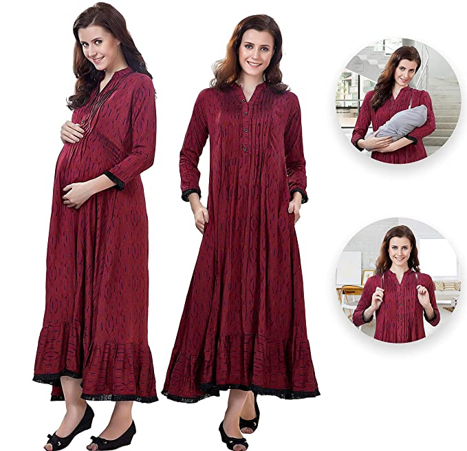c0cc146ff0b36 EasyFeed Designer Rayon Shine Cotton Printed Maternity/Nursing/Easy  Feeding/Breastfeeding/Kurti/Kurta/Dress/Gown/with Zippers for PRE and Post  Pregnancy for ...